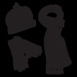 Winter essentials snow black illustration