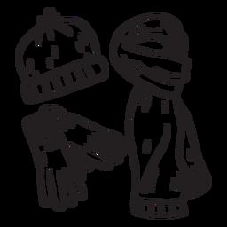 Trazo de ilustración de engranaje de invierno