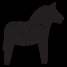 Estátua de madeira cavalo dala preto
