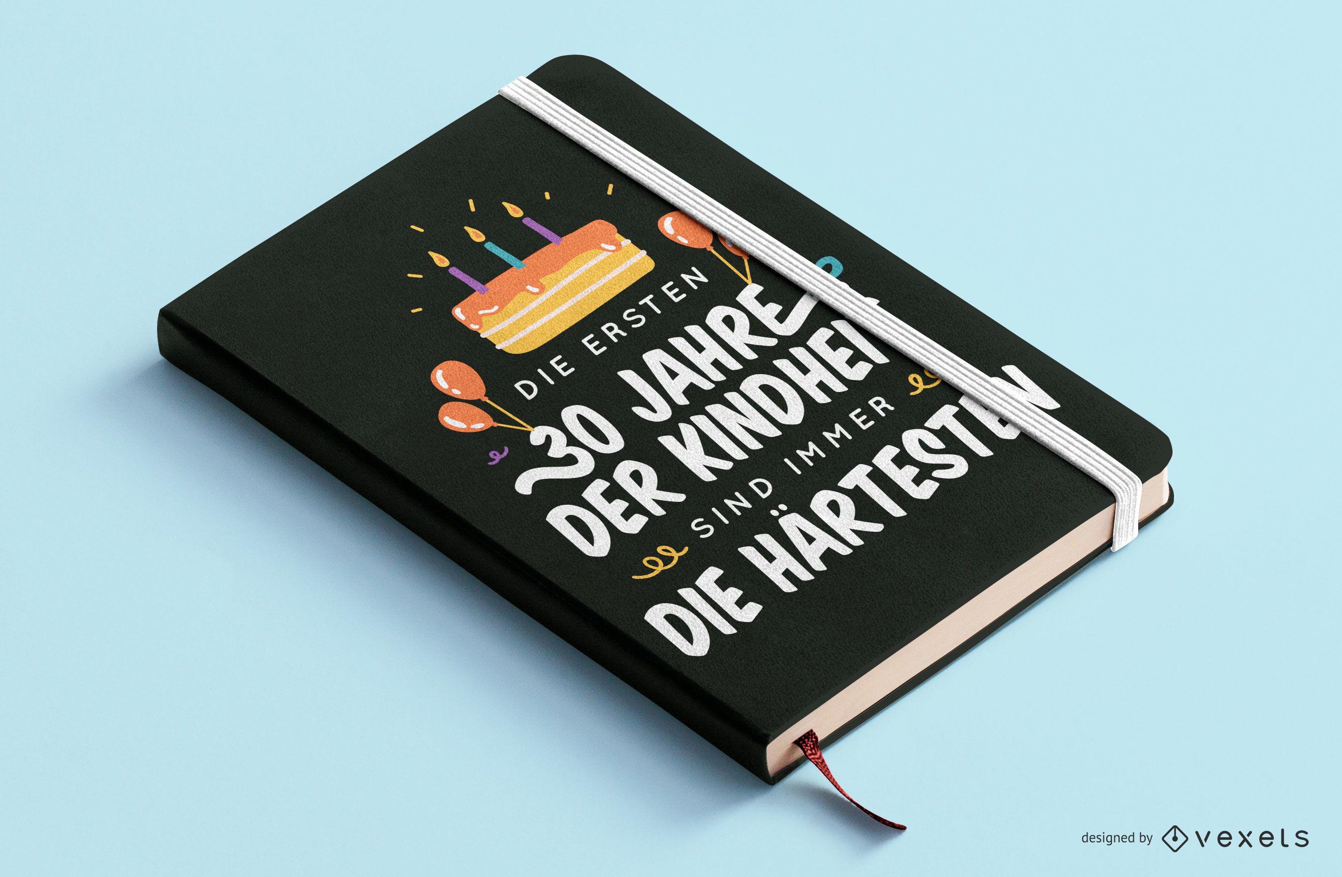 Diseño de portada de libro de cita alemana de 30 cumpleaños