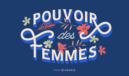 Mujeres poder diseño de letras francesas