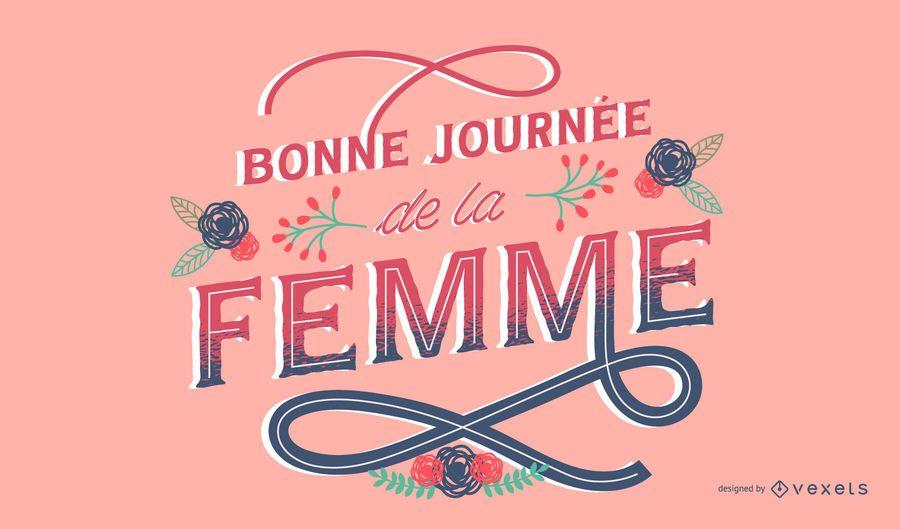 Feliz día de la mujer diseño de letras francesas
