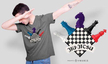 Design engraçado de camisetas de xadrez de Jiu Jitsu