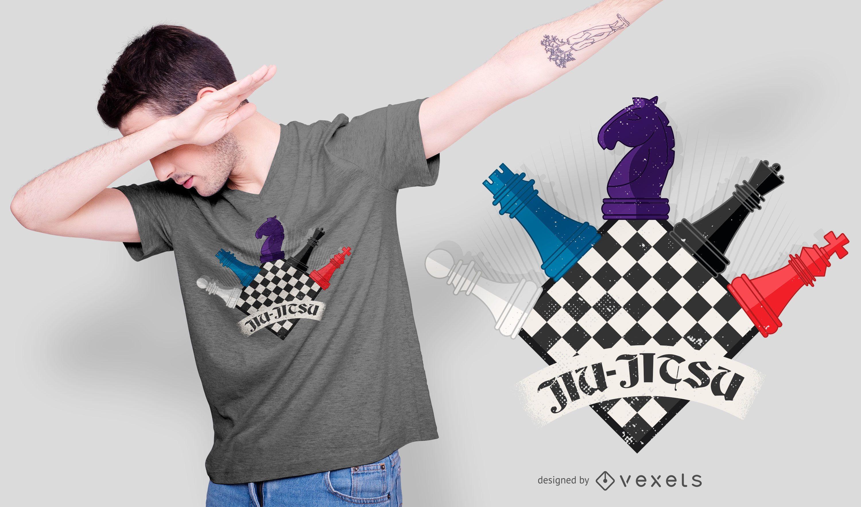 Diseño de camiseta de ajedrez divertido Jiu Jitsu