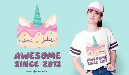 Diseño de camiseta de pastel de unicornio
