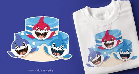 Design de t-shirt de amigos de tubarão