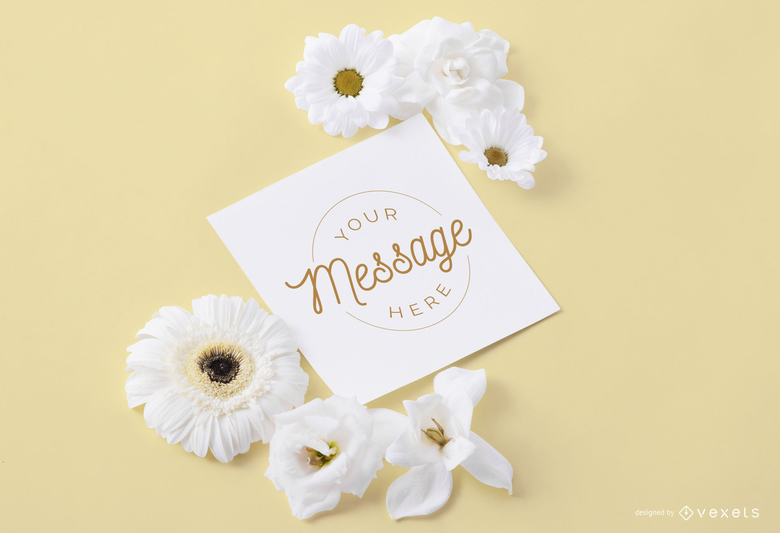 Card with flowers around mockup