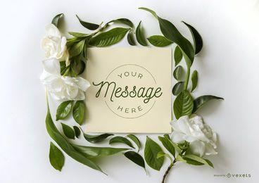 Maqueta de tarjeta de marco floral