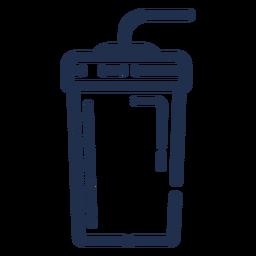 Vaso de bebidas trazo de paja doblada