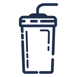 Vaso de bebidas trazo de paja doblado