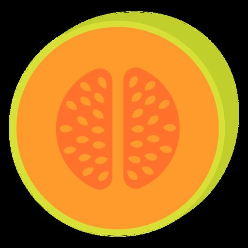 Cantaloupe fruit flat Transparent PNG
