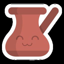 Etiqueta engomada de la olla de chocolate plana