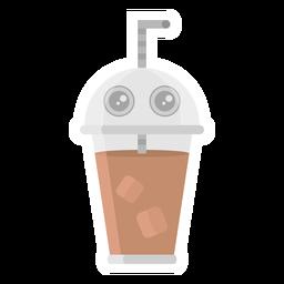 Etiqueta engomada del sorbete de café plana