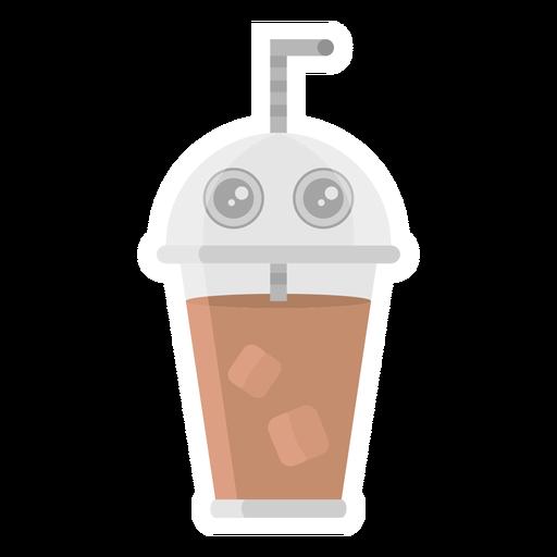 Etiqueta engomada del sorbete de café plana Transparent PNG