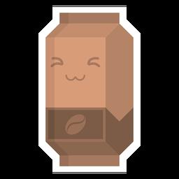 Adesivo de pacote tetra café plana