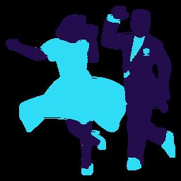 Pose de baile silueta de dúo de salón de baile