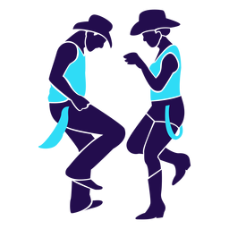 Dance pose country duo silhouette