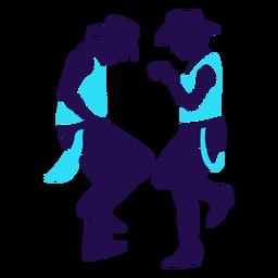 Silhueta de dupla dança país pose