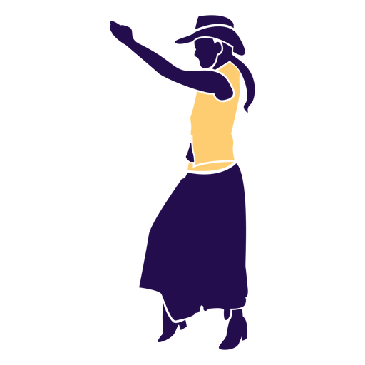 Dance pose country lady Silhouette