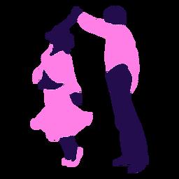 Silhueta de redemoinho de pose de dança duo