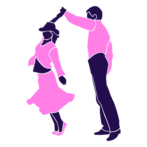 Dance pose duo swirl silhouette Transparent PNG