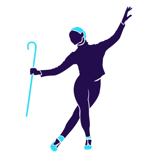Dance pose lady cane silhouette Transparent PNG