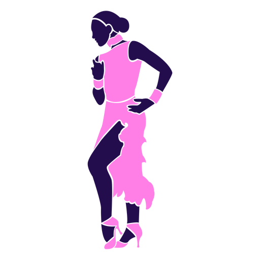 Dance pose lady pink silhouette Transparent PNG