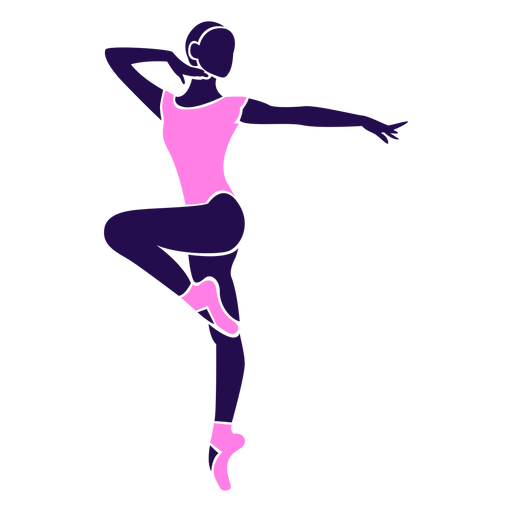 Dance pose lady tip toe silhouette Transparent PNG
