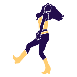 Dance pose lady walking silhouette
