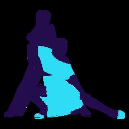 Dança pose tango azul silhueta