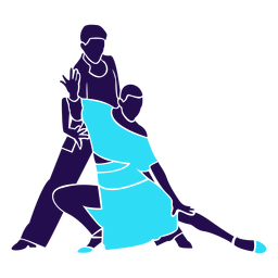 Dance pose tango blue silhouette
