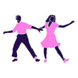 Baile pose tango rosa silueta