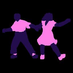 Pose de baile tango rosa silueta