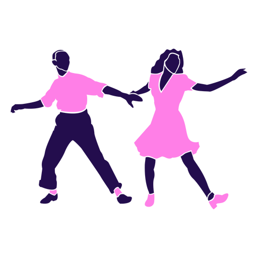Dance pose tango pink silhouette Transparent PNG