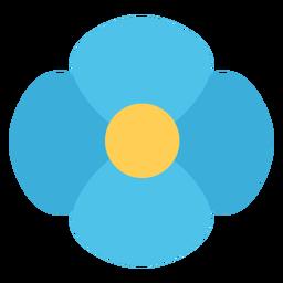 Flor de cuatro pétalos azul plana