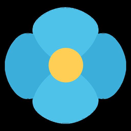 Flor de cuatro p?talos azul plana