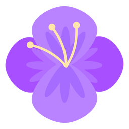 Flor de cuatro pétalos púrpura plana