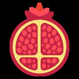 Granada fruta en rodajas planas