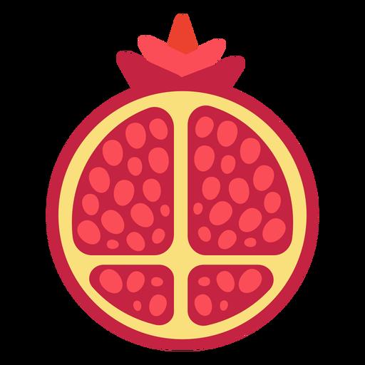 Pomegranate fruit sliced flat