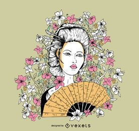 Kostenlose Vektor-Geisha-T-Shirt-Design