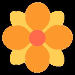 Runde Blumenblätter der gelben Blume flach