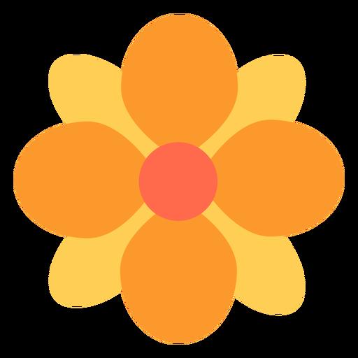 Flor amarilla redonda p?talos planos