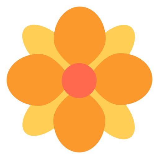 Runde Blumenblätter der gelben Blume flach Transparent PNG