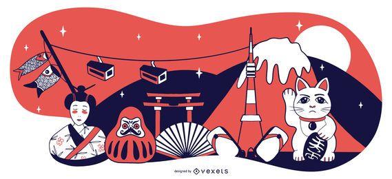 Design de composição de elementos do Japão