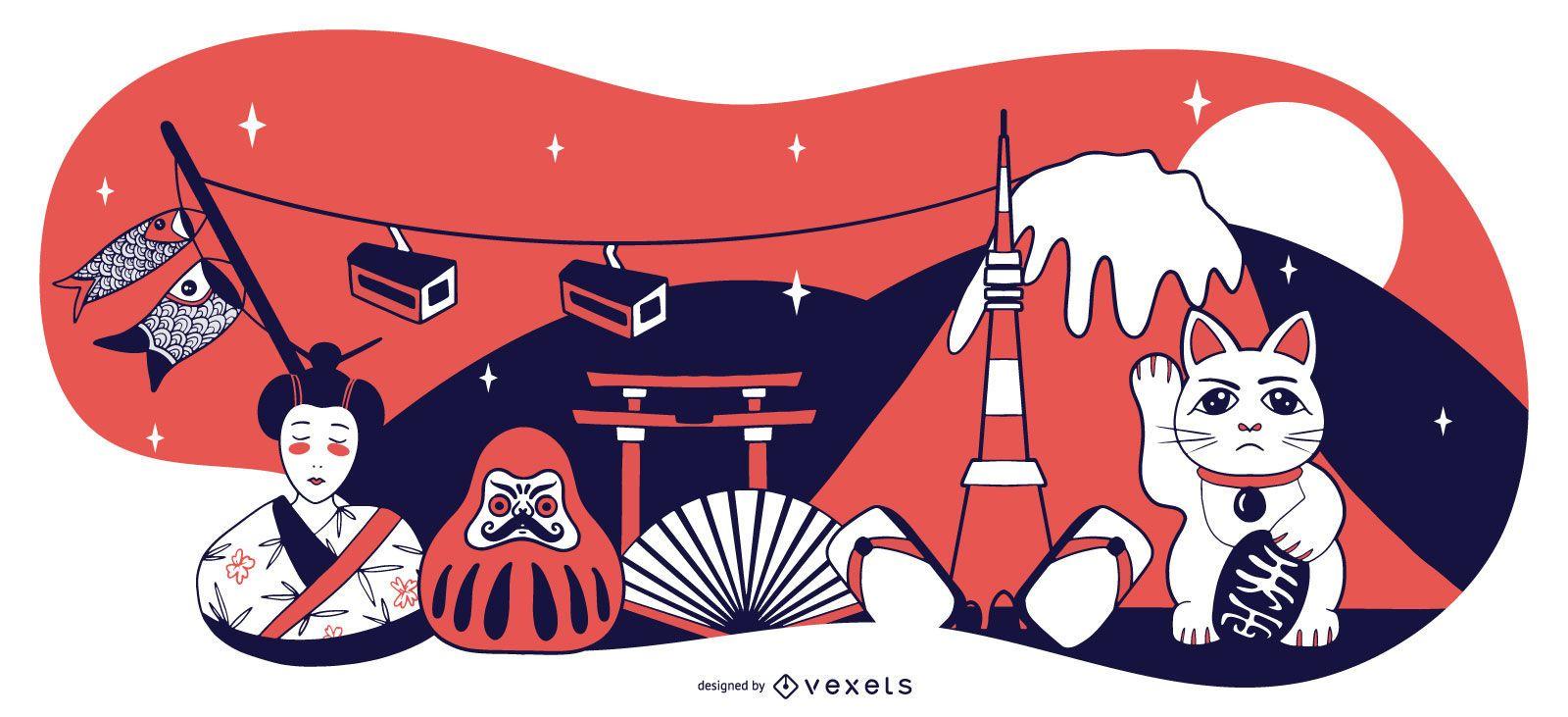 Japan Elements Composition Design