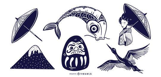 Conjunto de elementos de Japón monótono