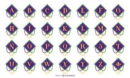 Conjunto de letra de guirnalda de alfabeto de Mardi Gras