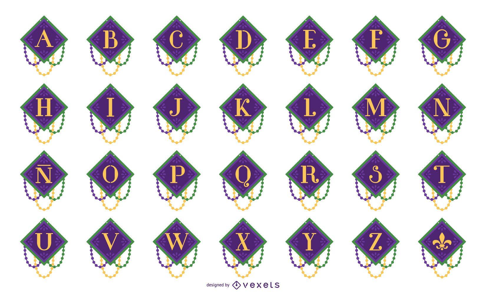 Conjunto de letras do alfabeto Mardi Gras