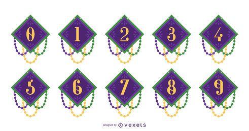 Conjunto de diseño de números de Mardi Gras