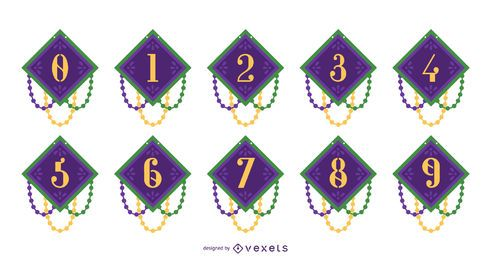 Mardi Gras Number Design Set